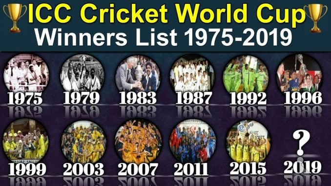 past cricket world cup winners list